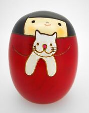 "Kokeshi doll - 3 5/8"" red with white CAT kitten - Japanese wooden round"