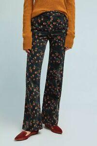 NWT Anthropologie Pilcro Sz 32 14 Black Floral Corduroy High Rise Wide Leg Pants