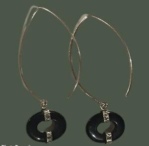 SILPADA Sterling Silver Black Onyx Chalcedony Threader Earrings W2048