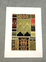 1873 Antique Print Indian Raj Empire Fabric Textiles Silk Chromolithograph
