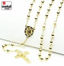 "Men's 6mm Bead Rosary Gold Plated Guadalupe & Jesus Cross 28"" Necklace HR 600 G"