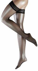 Falke Womens Shelina 12 Denier Ultra-Transparent Stay Up Stockings - Black