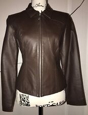 Genuine Leather Jacket Slim Fitted Dark Brown Center Zipper Size Small