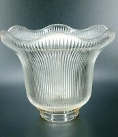 "Vintage Lamp Shade Holophane Clear Ribbed Ruffled Antique Glass Light 2"" Fitter"