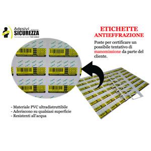 Etichette antimanomissione in PVC non falsificabili con mese/anno antieffrazione
