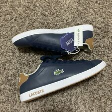 Lacoste Mens's GRADUATE Leather Sneakers in Navy/Light Brown, US 7