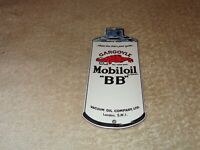 """VINTAGE """"MOBIL MOBILOIL BB GARGOYLE"""" """"OIL CAN""""  6"""" PORCELAIN METAL GASOLINE SIGN"""