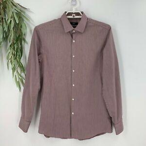 Hugo Boss Mens Slim Fit Easy Iron Button Down Shirt Size 41 16 Burgundy Stripe