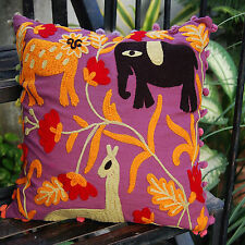 """Indian Cushion Covers Decorative Suzani Pillow Cases Embroidered Handmade 16x16"""""""