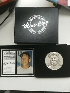 Highland Mint Limited 4 oz .999 Silver Mickey Mantle Medallion with Box & COA