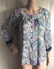Diane Von Furstenberg Womens Silk Dress Shirt Blouse Green Lilac Top Small Sz 4