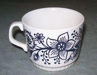 BOCH La Louviere Blue Flowers & Bird Tea/Coffee Cup Mug Belgium Collector's