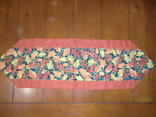 Fall Table Runner - Red, Green, Brown Leaves With Gold Pokadot Back