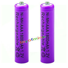 2x AAA 1800mAh pile 1.2V Ni-MH rechargeable 3A batterie violet pour MP3 Jouet RC