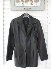 Super NICE Black Leather Ladies Jacket JLC New York mid thigh size Small 1/2 OFF