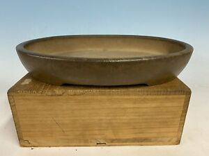 "Unglazed Tokoname By Kisen Bonsai Tree Pot 12 1/2"" Beautiful Patina"