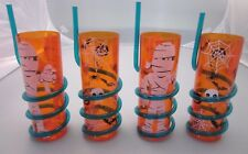 SET OF 4 HALLOWEEN TALL PLASTIC CUPS WITH STRAW ORANGE