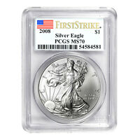2008 $1 American Silver Eagle MS70 PCGS - First Strike