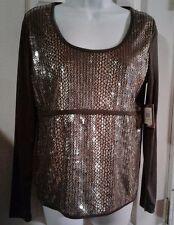 ELLEN TRACY Womens Medium Top Gold & Brown Glamour Sparkle Shirt Sequin Blouse