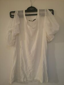 Atmosphere White Puffy Transparent Blouse Shirt Size 14