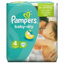 Pampers Bébé Sec Couches Size 4 Paquet Transport Souple Cotés 8kg-16kg Pack Of