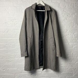 River Island Men's Smart-Casual Trench Coat Small Checked Beige Mac Overcoat