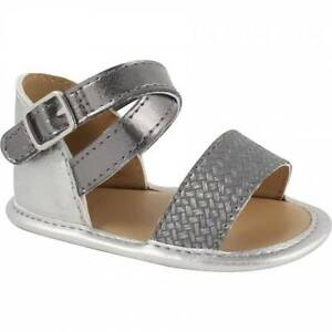 Baby Deer Silver and Pewter Sandals  Size 1 2 3
