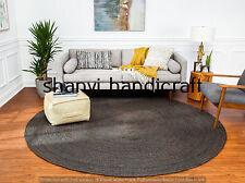 Handmade Braided Round Black Color Natural 5 Feet Jute Rug Area Rugs Carpet Mats