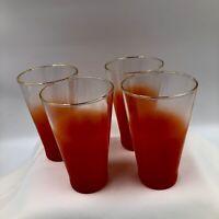 SET of 4 Vintage Mid Century Modern Blendo Frosted Orange Tumblers Gold Rim