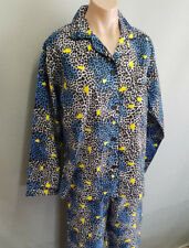 BNWT Ladies Sz L Pretty Black White Blue Animal Print Hearts Flannelette Pyjamas