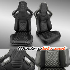 2 x BLACK PVC LEATHER/WHITE STITCH LEFT/RIGHT RACING BUCKET SEATS PAIR