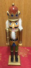 Hand Paint Wood Nutcracker Soldier 38cm Traditional Christmas  Brown Crown 4066