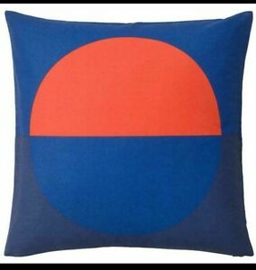 "IKEA Set/ 2 Majalotta Cushion Pillow Cover Blue and Bright Orange 20x20"" Square"