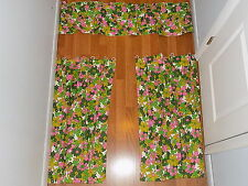 Floral 2 sets,  (4 Curtain panels with 2 valances),  clean, no damage, hand made