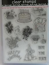 Individual Acrylic Clear Stamps 13 Designs Happy Birthday Ballons Cake (1715)