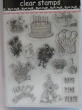 Individual Acrílico Sellos de polímero TRANSPARENTE 13 Diseños Happy Birthday