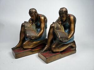Rare 1920s Pompeian Bronze Clad Roman Scribe Literature Color Bookends