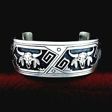 Native American Handmade Sterling Silver Buffalo Skill Cuff  Bracelet --- B2