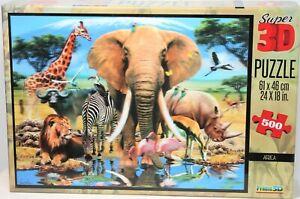 PRIME3D HOWARD ROBINSON AFRICA ELEPHANT GIRAFFE+ SUPER 3D 500 PC PUZZLE COMPLETE