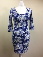 Warehouse Blue Dress Festival Flowery Pencil Wiggle Bodycon Stretch UK8 NEW (A2)