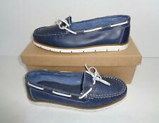 Schuh Womens Ladies Loafers Navy Slip on Low Leather Flats Shoes New UK Size 6