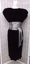 70s 80s Black Velvet & Silver Lame Cocktail Dress by REO