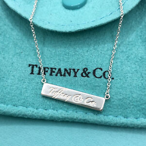 """Tiffany & Co. Sterling Silver Notes Bar Pendant Necklace 16.25"""""""