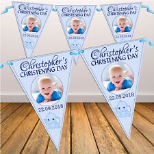 Personalised Boys Christening Baptism PHOTO Flag Banner Bunting N31 10 Flags