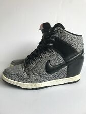 Nike Shoes Dunk Sky High Womens Denim Black and Dusty Grey Wedge Sneakers US 7M