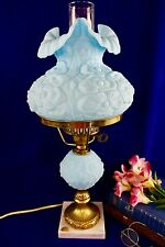 Fenton Poppy Blue Satin Glass  Student Electric Table Lamp