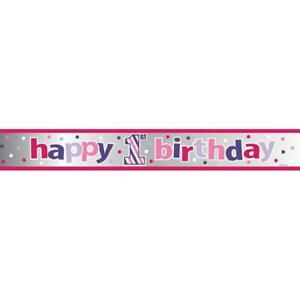 Sweet Stripes Girl Polka Dot Cute 1st Birthday Party Decoration Foil Banner