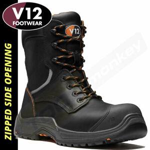 V12 Avenger IGS S3 Safety Work Boots High Leg Zip Side VR620 Black 7-12 Leather