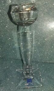 Silea Cristal Crystal Candlestick Candle Holder. Square. Chunky. Modern Design.