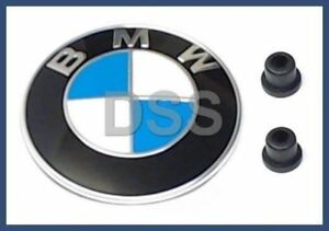 New Genuine BMW Hood Emblem Roundel Kit + Clips OEM Original + Warranty